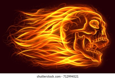 Flaming human skull digital painting.