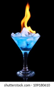 Flaming ice cubes in a glass