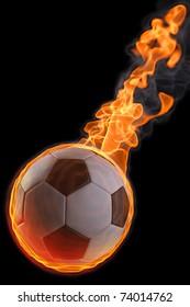 flaming soccer ball. isolated on black