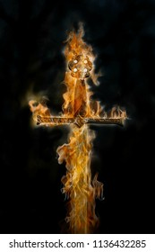 Flaming sword on a black background