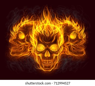 Flaming three human skulls digital painting.