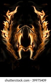 Flaming Wings of Fire and Flames Background.