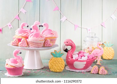 Flamingo ananas cookies for party