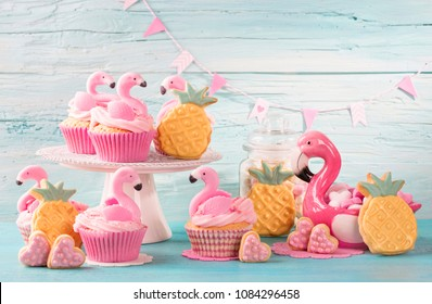Flamingo cup cakes and cookies for party