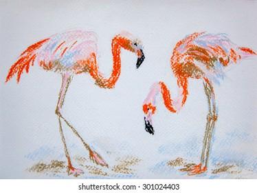 Flamingos.  Original pastel painting on paper