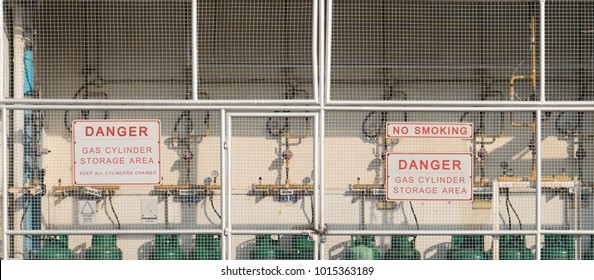 Flammable Gas Cylinder Storage Area of Industry, Warning Sign for Dangerous Objects