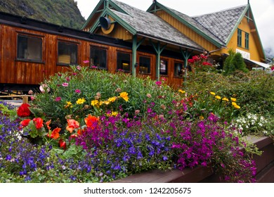 Flam/Norway-August  23, 2014: Flowers in front of the tourist-friendly Railway Cafe in Flam
