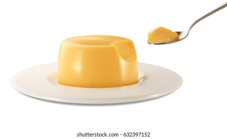 flan with spoon