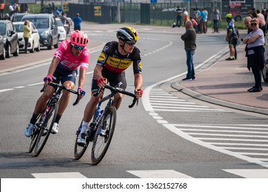 Flanders / Belgium - 04 07 2019: Alberto Bettiol of Italy and Education First Pro Team and Yves Lampaert of Belgium and Deceuninck pro team at the head of the race, 103rd Tour of Flanders 2019