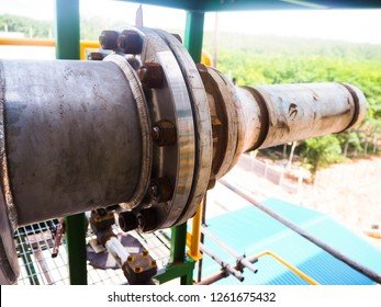 Flange and rusts of boiler in power plant.