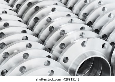 Flanges stacked in warehouse