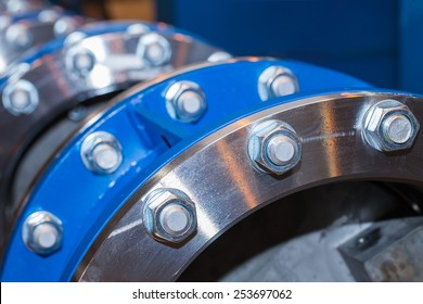 The flanges of valves with bolts and nuts