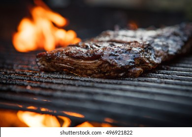 Flank Steak On The Grill With Fire