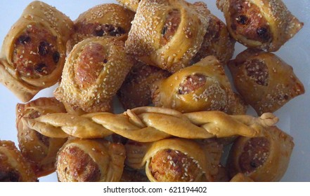 FLAOUNES - Cyprus Easter cakes made of outer pastry casing and a stuffing of cheese, egg and rasins