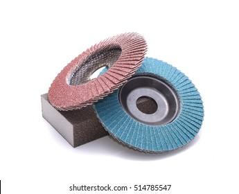 Flap abrasive wheels on white background