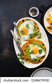 Flapjack with avocado and egg