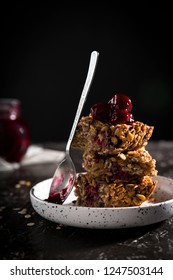 Flapjack cake with cherry jam