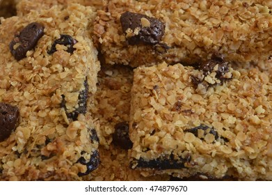 Flapjack - delicious bar with oatmeal, honey and dried fruit