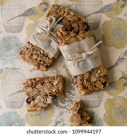 Flapjack - delicious bar with with rye flour, rye flakes and dried cranberry. Homemade Granola Bars. Scandinavian style. Top view