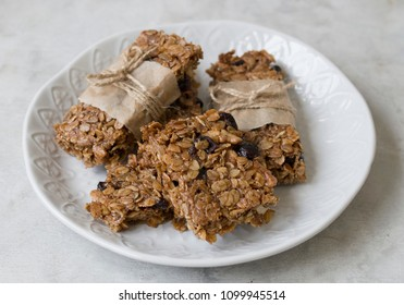 Flapjack - delicious bar with with rye flour, rye flakes and dried cranberry. Homemade Granola Bars. Scandinavian style. Close up
