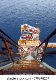 Flare boom ladder and top view of offshore platform