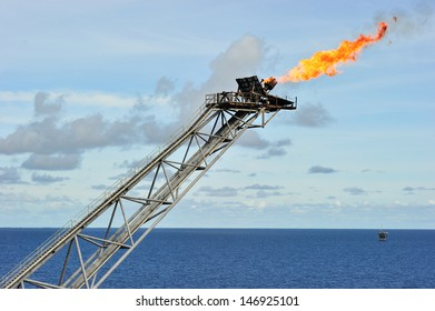 Flare boom at an offshore oil platform in the Gulf of Thailand