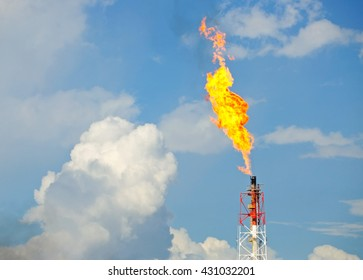 Flare stack at oil and gas Refinery Plant