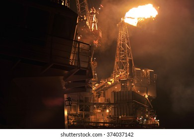 Flare system on the sea oil platform