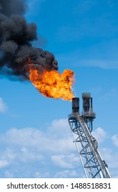 Flare tip of gas processing platform to vent and burn toxic, release gases to safe area.