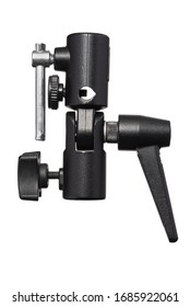 Flash Bracket Metal Mount Umbrella Bracket. Umbrella Holder Mount Attachment. Flashgun Bracket for Off Camera Flash. Speedlight Stand Adapter. Work Path Included in JPEG Isolated on White Background