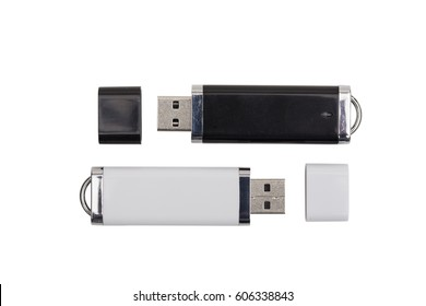 Flash drive on the white background
