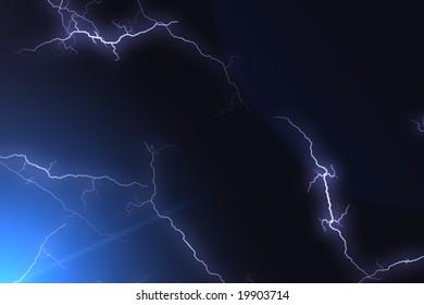flash lightning in sky close up