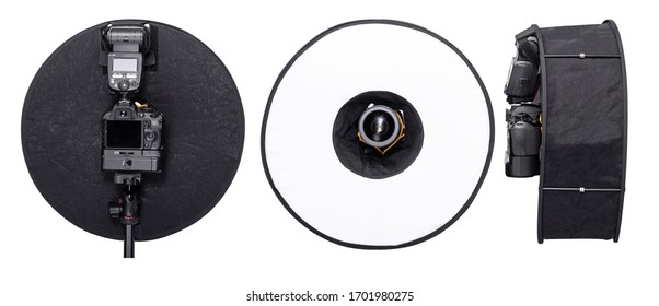 Flash Round Ring Light Diffuser Collapsible Ring Round flash Diffuser Soft Box for Macro Portrait Photography. Turns Speedlight into Ring Flash. Lighting Modifier for Flash. Work Path Included in JPEG