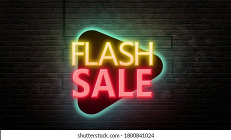 Flash sale sign emblem in neon style on brick wall background