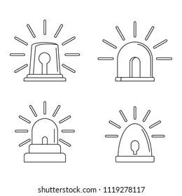 Flasher siren icons set. Outline illustration of 4 flasher siren icons for web