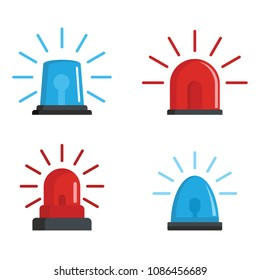 Flasher siren red and blue icons set. Realistic illustration of 4 flasher siren red and blue icons for web