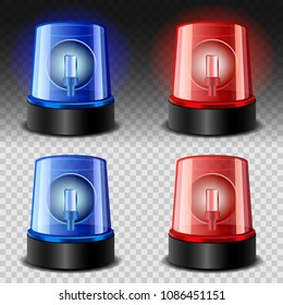 Flasher siren red and blue mockup set. Realistic illustration of 4 Flasher siren red and blue mockups for web