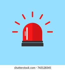 Flashing alarm signal. Police or ambulance red flasher siren logo. Flat style. Flasher alert icon. Simple flat illustration