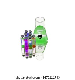 Flasks of biohazard substance isolated on white background. Poison, danger symbol. Chemical experiment. Medical illustration. Biohazard icon. Scientific research, medical technology.