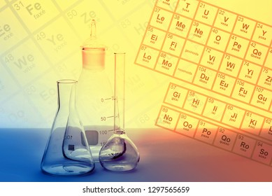 Flasks and containers in a chemical laboratory. Subjects scientific chemical laboratory. Science of biochemist with chemical elements