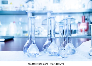 flasks on the lab