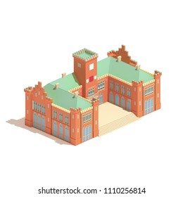 Flat 3d isometric castle or university building isolated on white background.