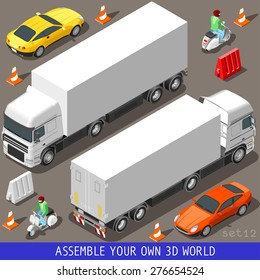 Flat 3d Isometric High Quality Vehicle Tiles Icon Collection. Truck  Articulated Lorry Coupe Car and  Motor Scooter with Delivery Man. 3d World Web Infographic Set. JPG. JPEG. Object. Picture. Image.