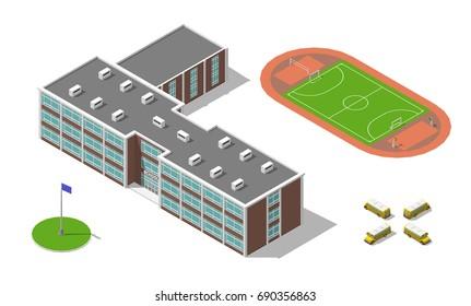 Flat 3d isometric school building, bus, stadium isolated on white. illustration isolated on white. Elements of infographic.