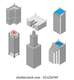 flat 3d isometric set of  skyscrapers, buildings, school.  Isolated on white background.  for games, icons, maps.