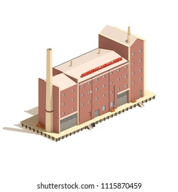 Flat 3d model isometric red brick industry or factory building illustration isolated on white background.