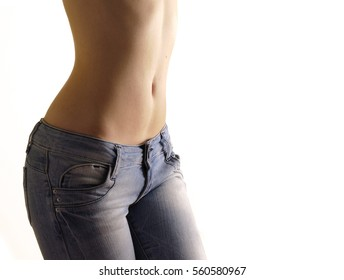 Flat belly, isolated