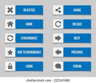 Flat blue buttons set. Vector available.