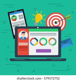 Flat concept personal account in internet services with devices. Accounting services. Laptop with app, information, smart phone, target, idea lamp, graphics in flat style. Web square banner