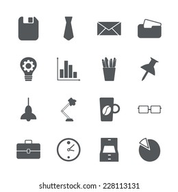 Flat concept, set modern design with shadow icons for web design and mobile applications, SEO. search Working Optimization:  office icons
